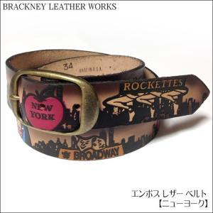 エンボス レザー ベルト( ニューヨーク ) -BRACKNEY LEATHER WORKS -G- NY 自由の女神 アメリカ製 本革 アメカジ カジュアル メンズ|bambi