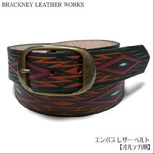 エンボス レザー ベルト( オルテガ柄 ) - BRACKNEY LEATHER WORKS  -G-( ネイティブ アメカジ USA アメリカ製 本革 本皮 )|bambi