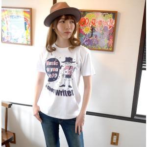 スカルTシャツ / Music do you like?? Tシャツ (ホワイト)-G- 半袖 ドクロ ギター プリント メンズ レディース おしゃれ 大きいサイズ|bambi