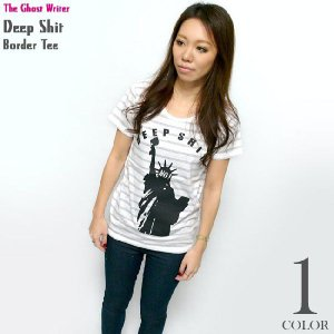 Deep Shit ガールズ ボーダーTシャツ -G- レディースTシャツ パンクロックTシャツ アメカジ カットソー 半袖|bambi