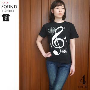 サウンド Tシャツ (ブラック) -G- 半袖 黒色 ト音記号 楽譜 音楽 ミュージック アメカジ カジュアル bambi 02