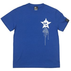 スカルスター Tシャツ (ロイヤルブルー)-G- 半袖 ロックTシャツ スカル ドクロ 骸骨 星柄 ワンポイント シンプル 青色|bambi