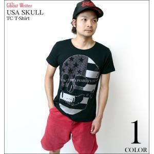 【廃盤 (在庫限り)】 USA スカル TC Tシャツ -G- 半袖 ブラック 黒系 パンクロックTシャツ ドクロ プリント アメカジ カットソー PUNKROCK|bambi