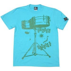 ワールドラム Tシャツ (アクアブルー) -G- 半袖 ドラム バンドTee ロックTシャツ アメカジ カジュアル 青 水色 bambi