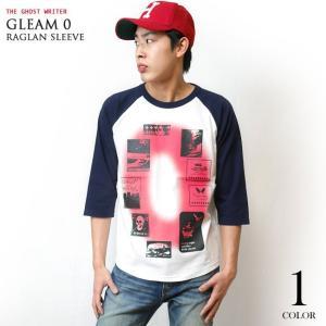 Gleam 0(ゼロ) ラグランスリーブTシャツ -G- 7分袖 七分袖 カットソー グラフィックデザイン アメカジ カジュアル|bambi