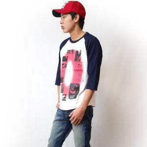 Gleam 0(ゼロ) ラグランスリーブTシャツ -G- 7分袖 七分袖 カットソー グラフィックデザイン アメカジ カジュアル|bambi|02