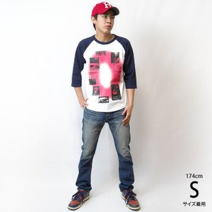 Gleam 0(ゼロ) ラグランスリーブTシャツ -G- 7分袖 七分袖 カットソー グラフィックデザイン アメカジ カジュアル|bambi|03