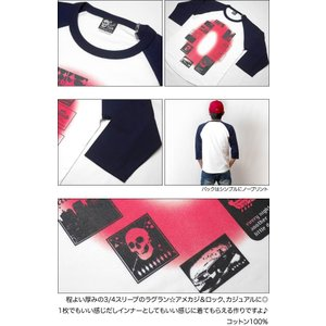 Gleam 0(ゼロ) ラグランスリーブTシャツ -G- 7分袖 七分袖 カットソー グラフィックデザイン アメカジ カジュアル|bambi|05