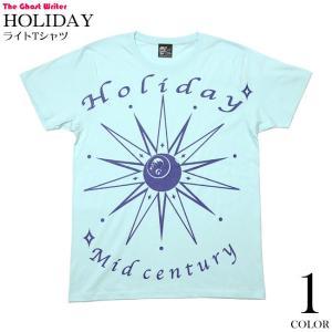 2weekセール!! HOLIDAY (ホリデー) ライトTシャツ (シャーベットブルー) -F- 半袖 水色 スカル ミッドセンチュリー グラフィックデザイン|bambi