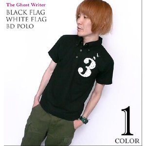 Black flag White flag ボタンダウン ポロシャツ -G-( Polo ロック ワンポイント ロゴ ナンバー )|bambi