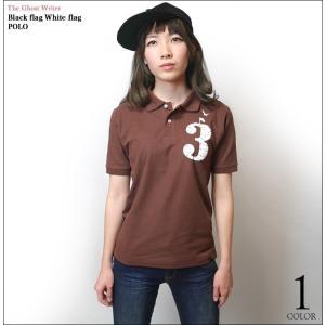 2weekセール☆ Black flag White flag ポロシャツ -G- POLO トップス 半袖 トップス カジュアル アメカジ ワンポイント|bambi