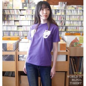 パンクロックTシャツ / World is blind. Tシャツ ( V.パープル )-G- 半袖 紫色 スカル ドクロ 骸骨 アメカジ ストリート|bambi