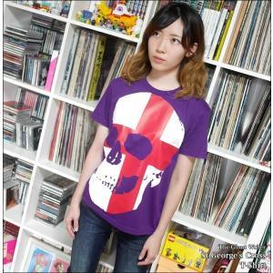 2weekセール!! セント ジョージ クロス スカル Tシャツ (パープル) -G- 半袖 パンクロックTシャツ ドクロ イングランド 十字旗 紫色|bambi