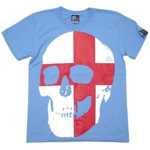 セント ジョージ クロス スカル Tシャツ (サックス) -G- 半袖 パンクロックTシャツ ドクロ イングランド 十字旗 水色 bambi 04