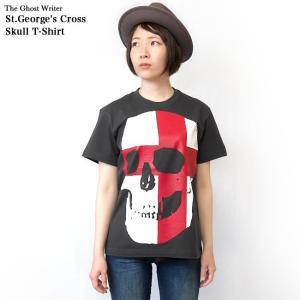 セント ジョージ クロス スカル Tシャツ (スミ) -G- 半袖 パンクロックTシャツ ドクロ イングランド 十字旗 灰色|bambi