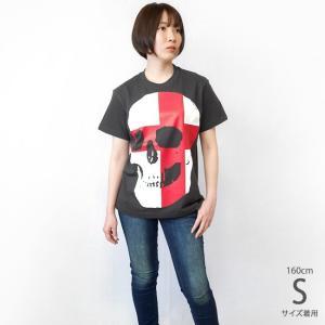 セント ジョージ クロス スカル Tシャツ (スミ) -G- 半袖 パンクロックTシャツ ドクロ イングランド 十字旗 灰色|bambi|02