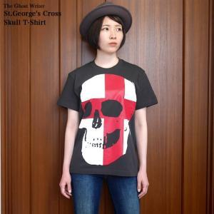 セント ジョージ クロス スカル Tシャツ (スミ) -G- 半袖 パンクロックTシャツ ドクロ イングランド 十字旗 灰色|bambi|04
