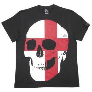 セント ジョージ クロス スカル Tシャツ (スミ) -G- 半袖 パンクロックTシャツ ドクロ イングランド 十字旗 灰色|bambi|05