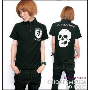 Ghost Emblem(ゴースト エンブレム)ボタンダウン ポロシャツ -G-( Polo ドクロ パンク ロック ワンポイント ブラック 黒 )|bambi