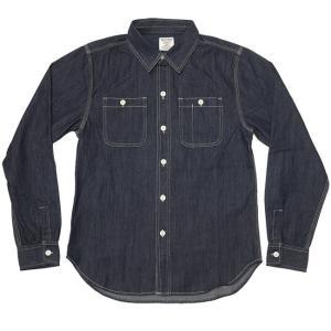 45th記念 デニムワークシャツ ( インディゴ )-G- DENIM 長袖 アメカジ カジュアル 紺色 かっこいい セレクト|bambi