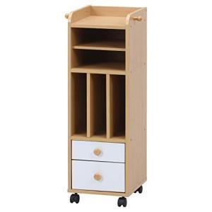 不二貿易 子供用 ランドセルラック 幅29.5cm ナチュラル 縦置き 木製 キャスター付き 本棚 書類 A4 NORM 98892|banana-store2
