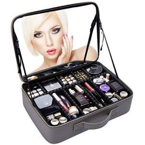 Rownyeon プロコスメボックス メイクボックス 化粧箱 ミラー 鏡付き 仕切り化粧品収納 メイク道具入れ 大容量 携|banana-store2