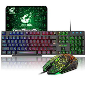 ゲーミングキーボード 有線 メンブレン ゲーミングキーボードとマウスセット マルチメディア 日本語配列 虹色|banana-store2