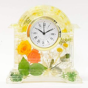 Lulu's ルルズ ハーバリウム 花時計 Flower clock イエローオレンジ プリザーブドフラワー ドライフラワー サイズ:1|banana-store2