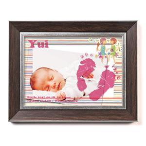 赤ちゃん クリアフォトフレームメモリアル(カラーフレーム8種類選択)手がた足がた付き お名前(漢字・ banana-store2