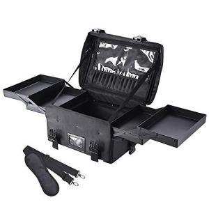AW メイクボックス 大容量 プロ用 スライドトレー 多機能 2WAY 軽量 幅43cm メイクソフトケース 化粧品箱 メイク収|banana-store2
