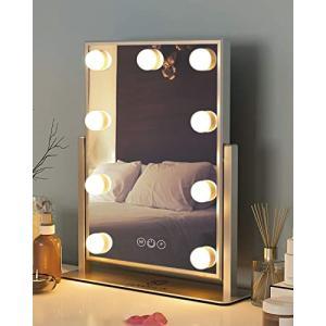 FENCHILIN 化粧鏡 女優ミラー 卓上鏡 ハリウッドミラー 三色照明モード 明るさ調節可能 9個LED電球付き 10倍拡大鏡|banana-store2