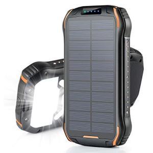 モバイルバッテリー ソーラー 大容量 26800mAh ソーラーチャージャー Soxono 15W急速充電 ソーラー充電器 三つ出力 banana-store2
