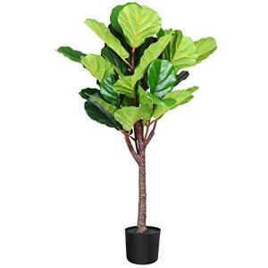 Fopamtri 観葉植物 フェイクグリーン 人工観葉植物 造花 カシワバゴムノキ 簡単世話いらず 水やり不要 インテリ|banana-store2