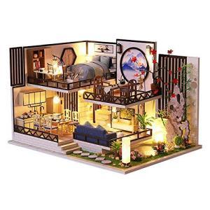 CuteBee DIY木製ドールハウス 、バンブーチャーム、中華風、ミニチュアコレクション、プレゼント、防塵カバー付 banana-store2