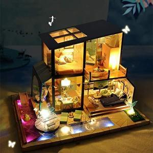 ソフィー ドールハウス 手作りキットセット ミニチュア ミニ家具工芸品キット オルゴール 防塵ケース付き 「 banana-store2