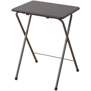[山善] サイド テーブル(折りたたみ) 幅50奥行48高さ70cm ミニ ハイタイプ 傷がつきにくい 完成品 ミドルブラウン banana-store2