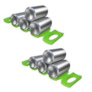 kwmobile 2x 缶 収納 オーガナイザー シリコン製 - ビール缶 飲料缶 フード缶 冷蔵庫 棚 スタッカー セット 緑色|banana-store2