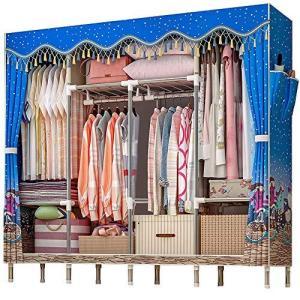 QINNKJIA ワードローブ ハンガーラック クローゼット 衣類収納 大容量 耐久 防塵 防汚 洗える カバー付き カーテ|banana-store2