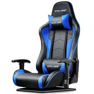 GTRACING ゲーミングチェア 座椅子 180度リクライニング ハイバック 可動肘 ヘッドレスト クッション付き 青 89-BLUE banana-store2