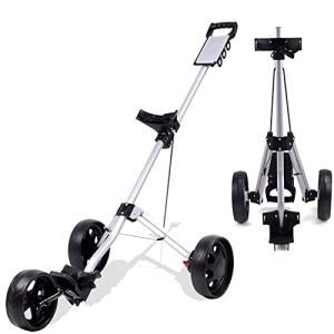 ゴルフ用カート3輪ゴルフカートゴルフプッシュカート 折り畳み式カート 収納コンパクト ブラック手引きゴル|banana-store2