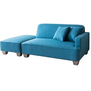 アイリスプラザ ソファ 2人掛け カウチソファ オットマン クッション付き 組み合わせ自由 ブルー|banana-store2