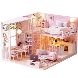 CuteBee DIY木製ドールハウス、メゾネットタイプ、販売元に注意、手作りキットセット、ミニ家具工芸品キット、 banana-store2