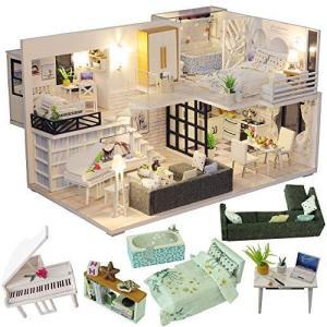 CuteBee DIY木製ドールハウス、Happy Time、手作りキットセット、ミニチュアコレクション、LEDライト(電池AAA*2必要) banana-store2