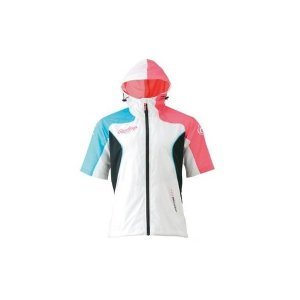 【1点までメール便可】特価 ローリングス【AOS4S06-WVPK】ウインドパーカー半袖ジャケット(フード付き) ホワイト×バーチャルピンク 白|bandaisports
