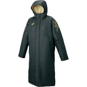 セール アシックス 【XA716N-9008】 ロングコート ブラック×ゴールド 黒|bandaisports