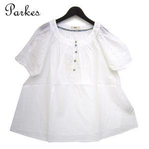 Parkes(パークス) 60sローン LIBERTY くるみボタン シャツブラウスオフホワイト 半袖 PH1321019 レディース|bandblife