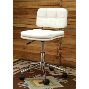 コンパクト オフィスチェア かわいい オシャレ な 回転椅子 昇降 機能 付き 座面高 40〜50cm 白色 回転 昇降 チェア AZ-301WH|banjo