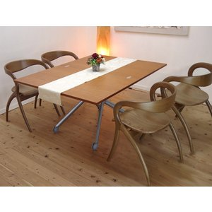 ダイニングテーブルセット イタリア製 無段階 調節 昇降 天板 70~140cm 伸張 テーブル Esprit/チェリー色+STAR4脚セット|banjo