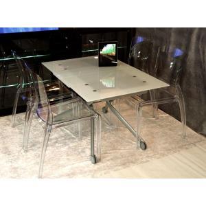 リフティングテーブル 強化ガラス天板 イタリア製 伸長式 透明 椅子 4脚セット 高さ調整 テーブル ダイニングテーブル5点セット|banjo