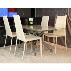 イタリア製 伸長式 リフティング テーブル デザイナーズ チェア 4脚セット フロストガラステーブル 高さ調整テーブル|banjo